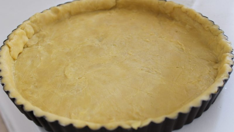 Pie Crust rolled onto a tart tin